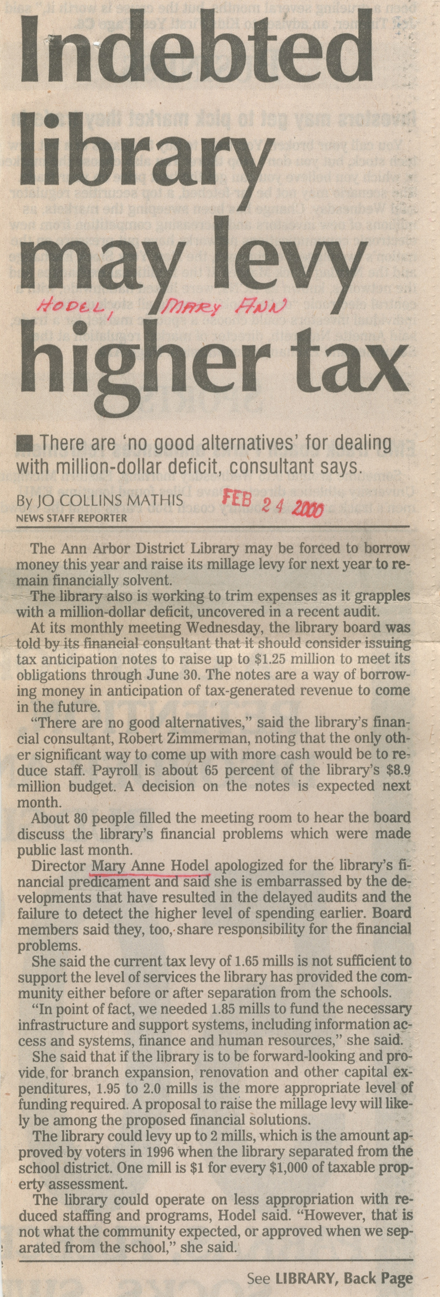 Indebted Library May Levy Higher Tax image
