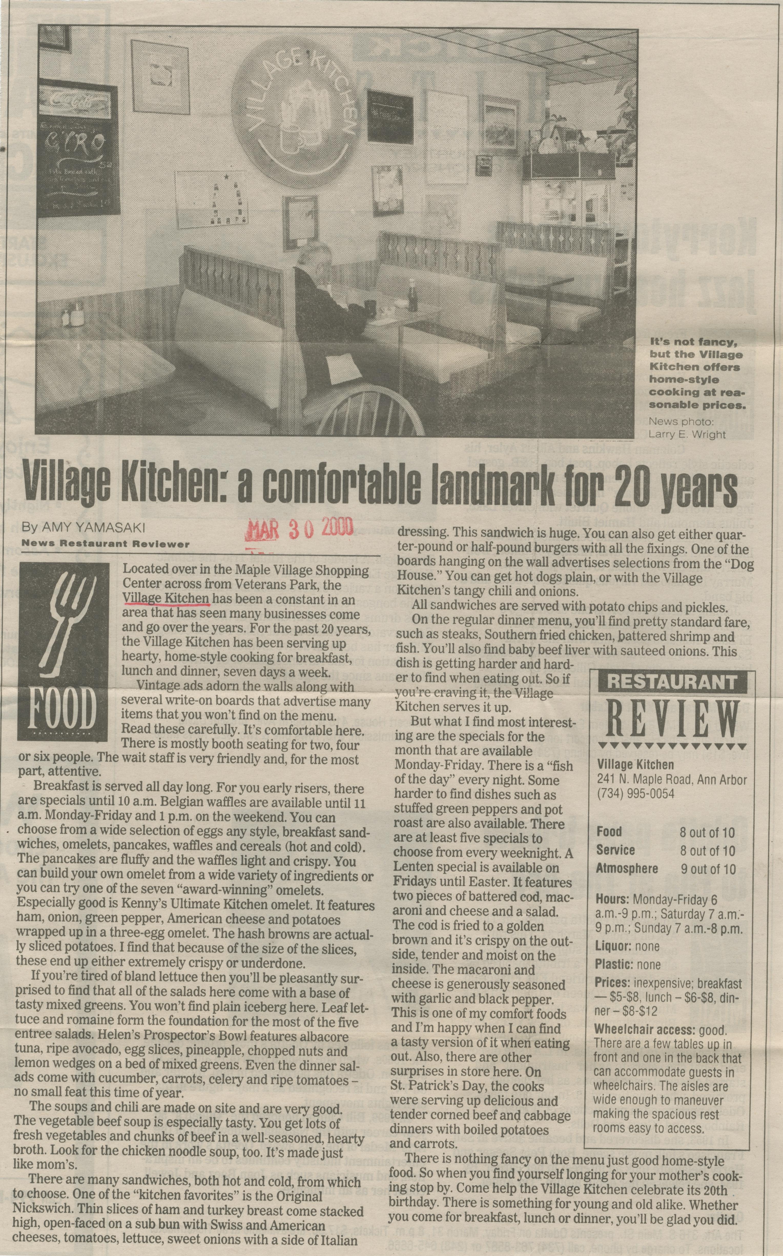 Village Kitchen Restaurant Ann Arbor District Library