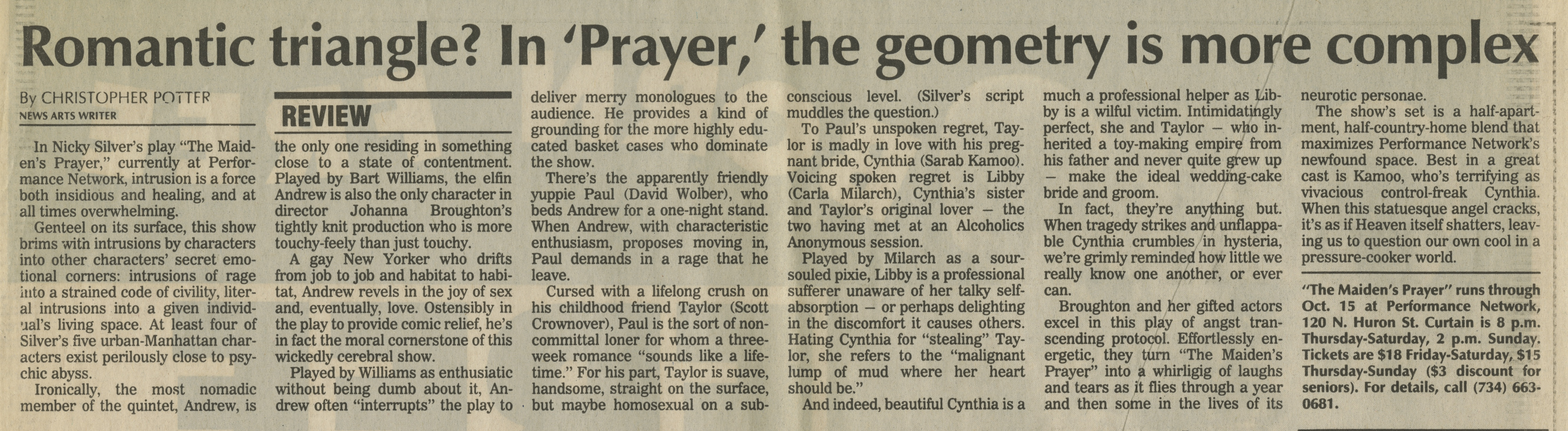 Romantic triangle? In 'Prayer,' the geometry is more complex image