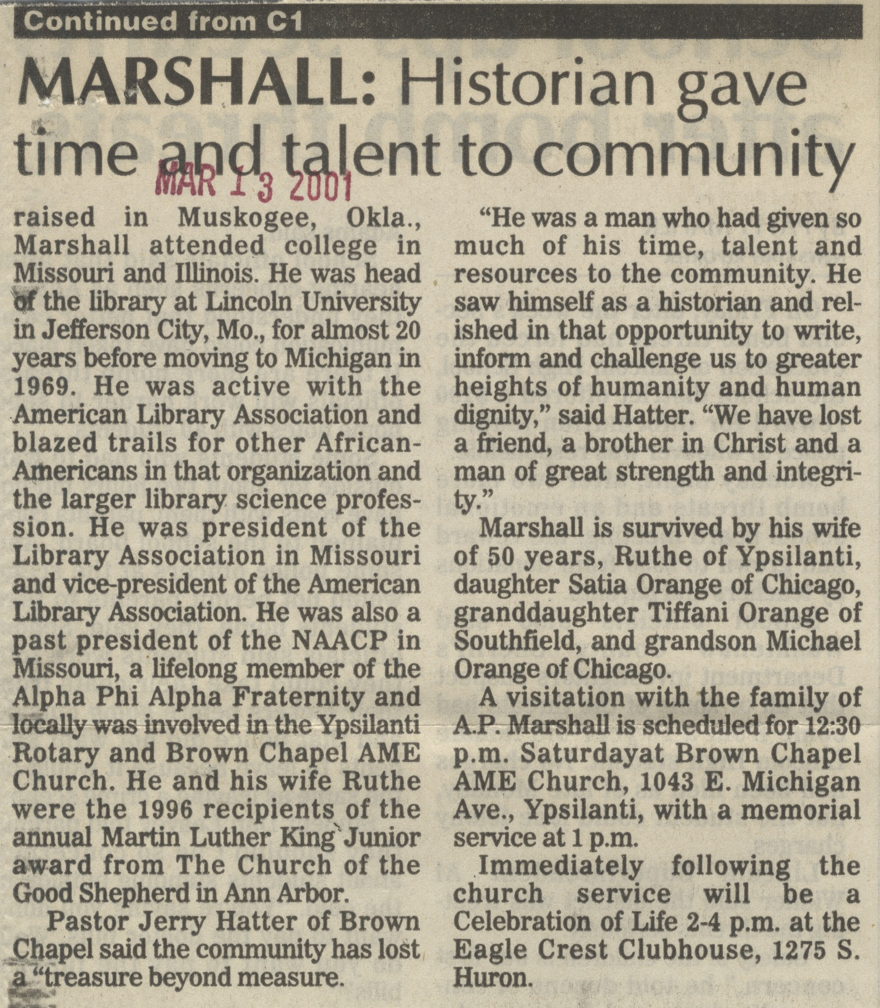 A. P. Marshall, Ypsilanti Black History Leader, Dies At Age 86 image