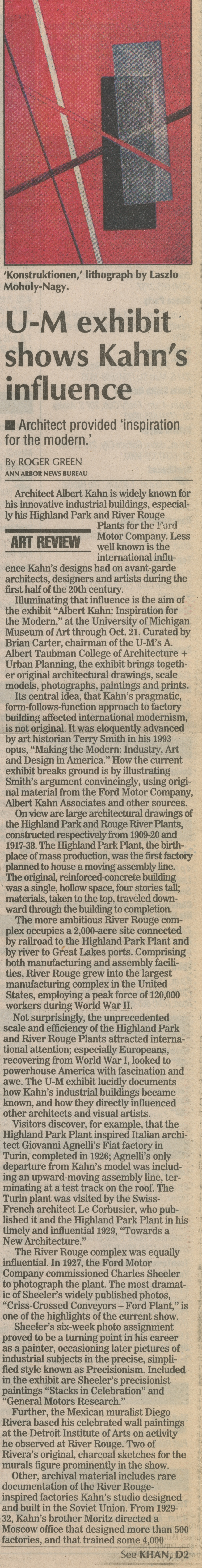 "U-M Exhibit Show Kahn's Influence: Architect Provided ""Inspiration For The Modern"" image"
