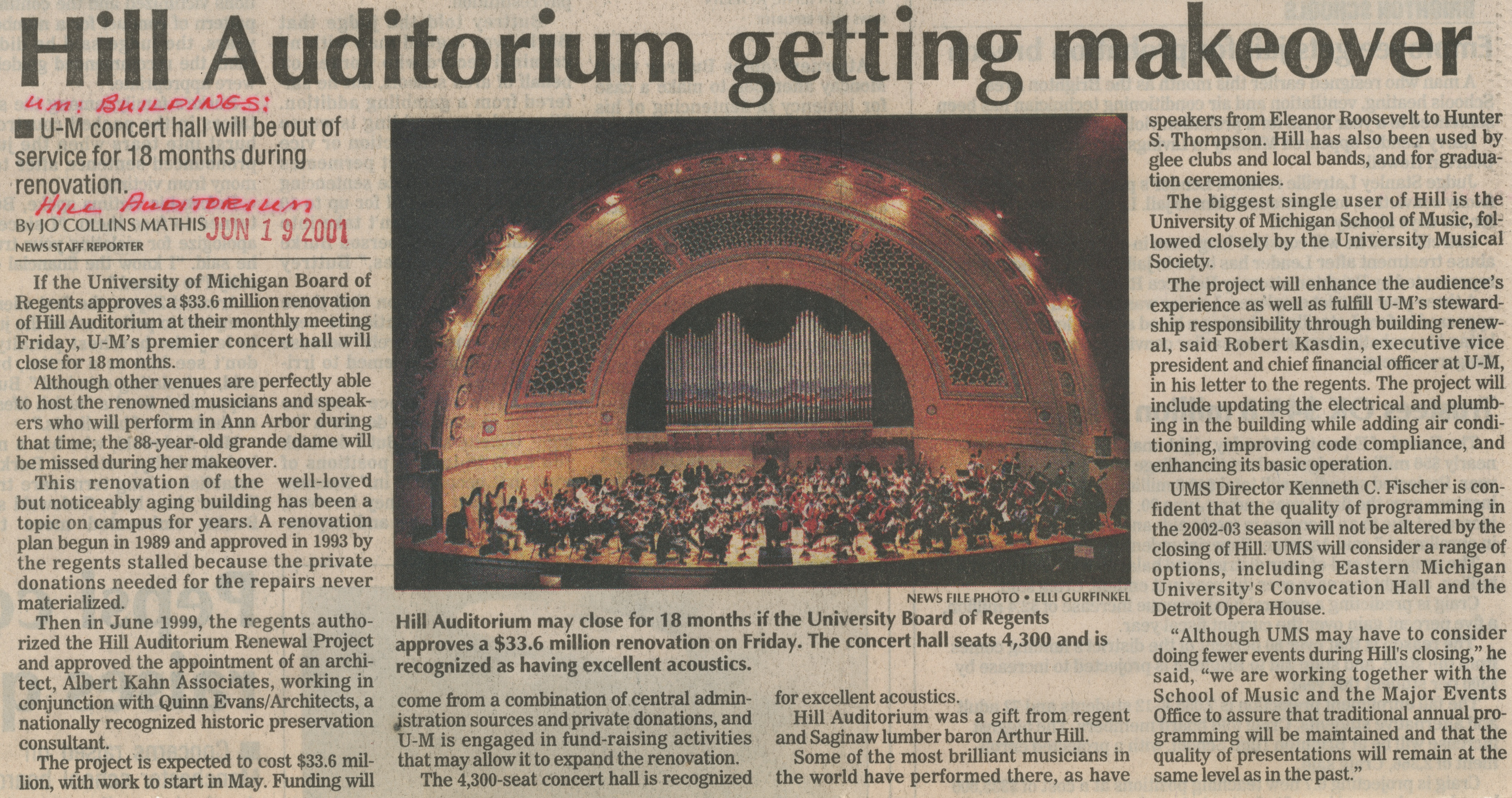 Hill Auditorium Getting Makeover: U-M Concert Hall Will Be Out Of Service For 18 Months During Renovation image