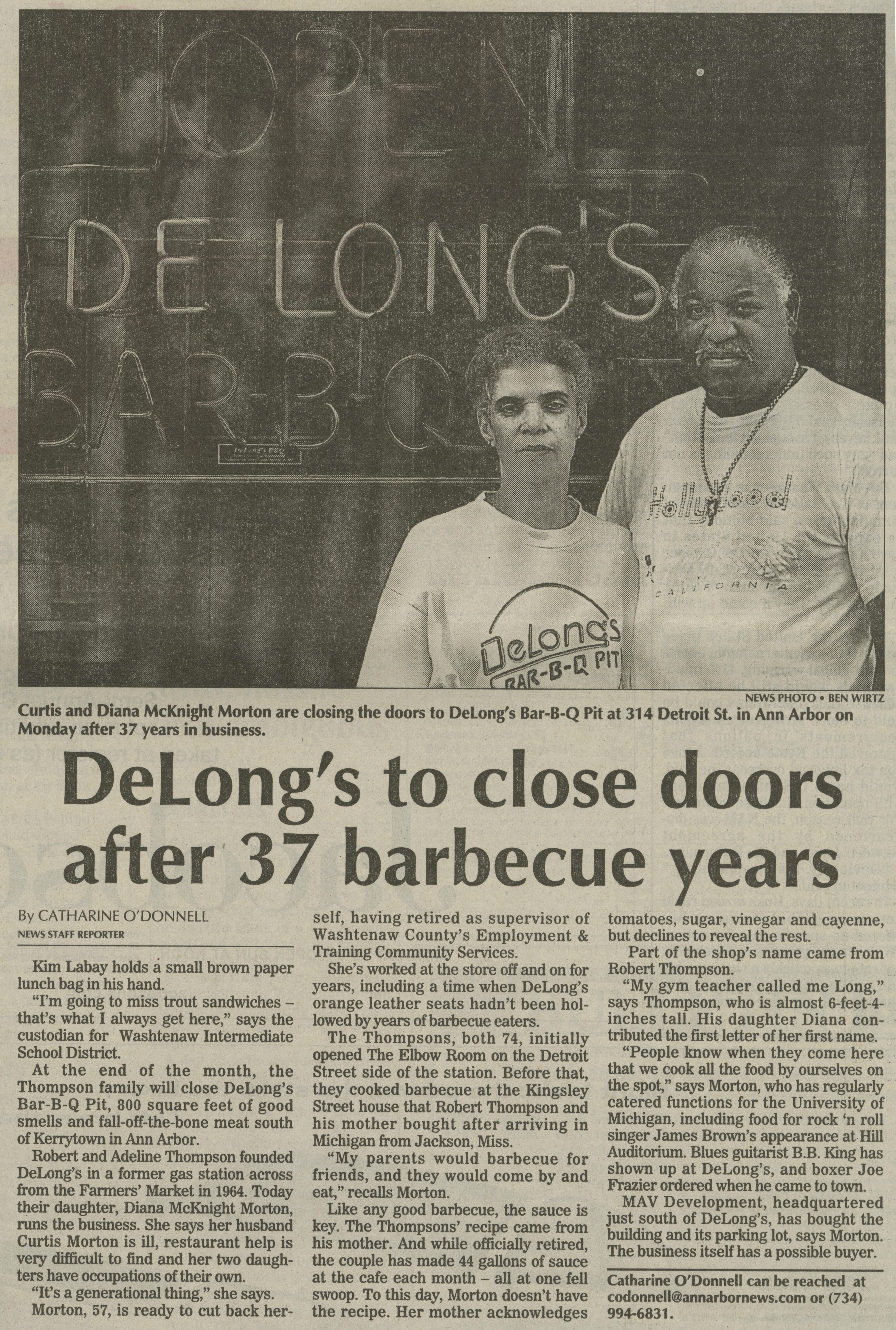 DeLong's to close doors after 37 barbecue years image