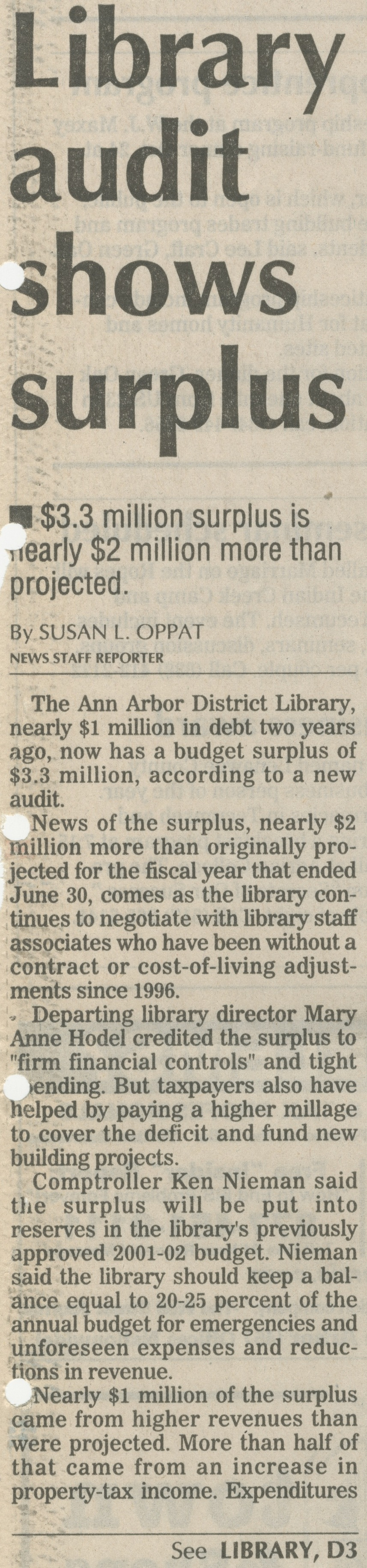 Library Audit Shows Surplus image