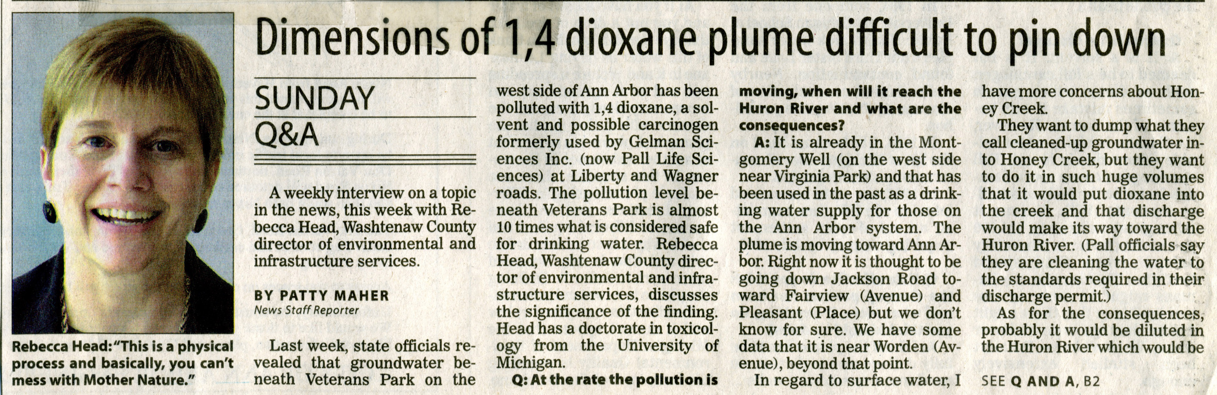 Dimensions of 1,4 dioxane plume difficult to pin down image
