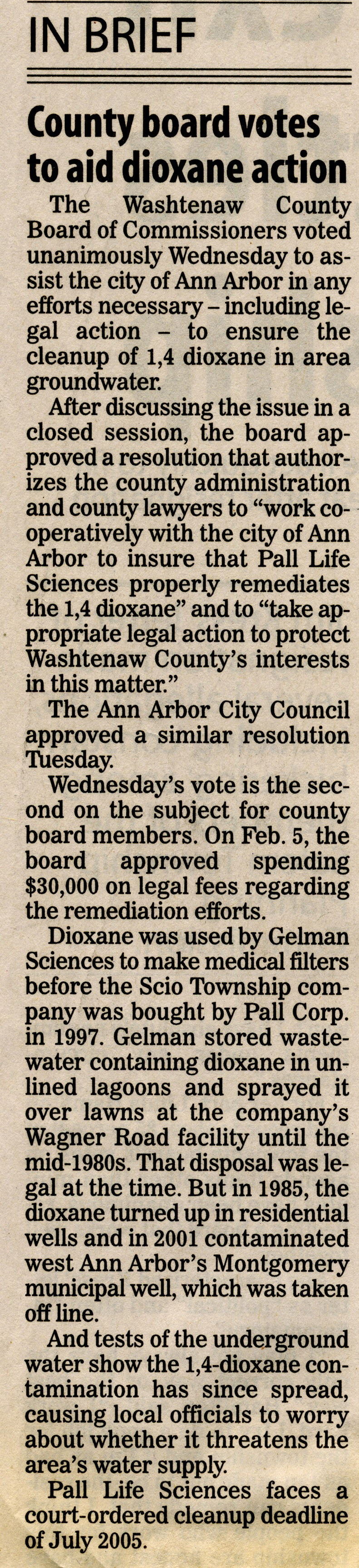 County Board Votes To Aid Dioxane Action image