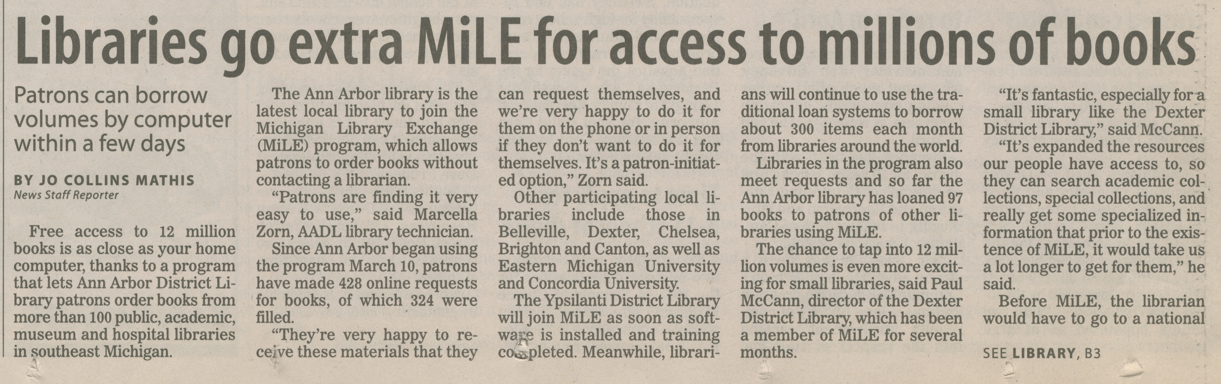 Libraries Go Extra MiLE For Access To Millions Of Books image