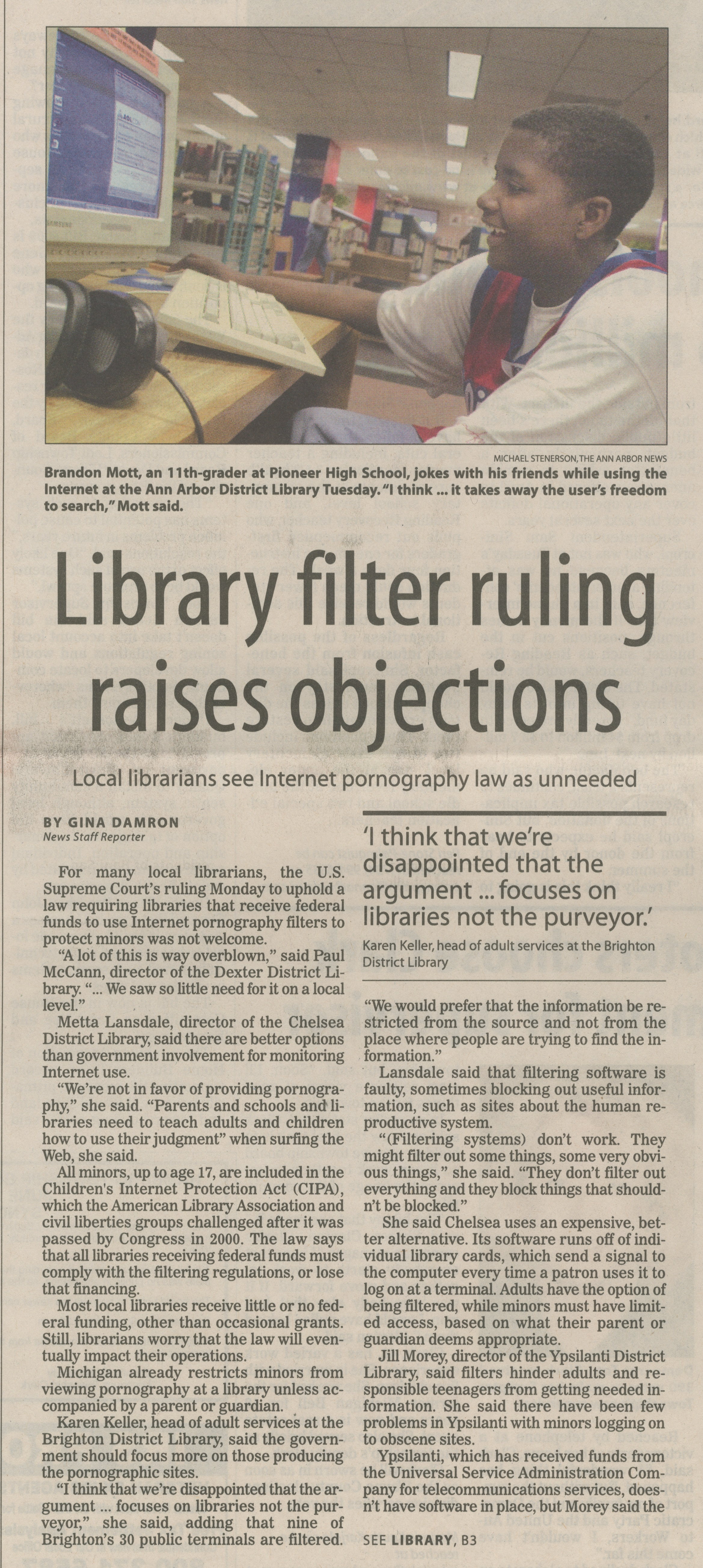 Library Filter Ruling Raises Objections image