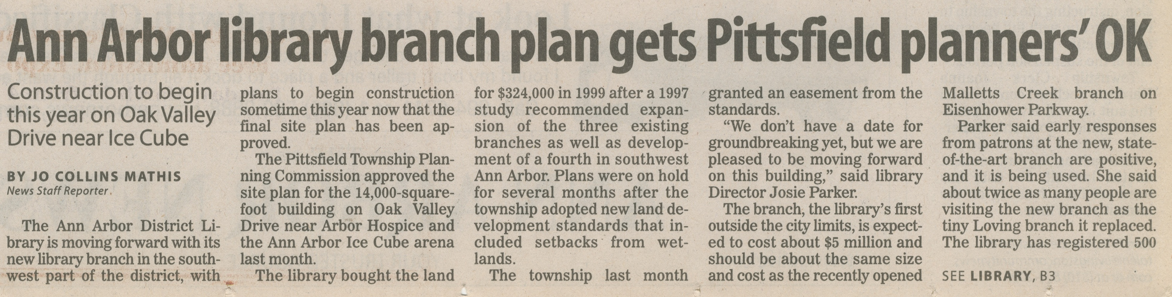 Ann Arbor Library Branch Plan Gets Pittsfield Planners' OK image