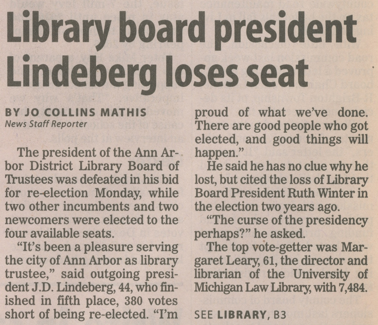 Library Board President Lindeberg Loses Seat image