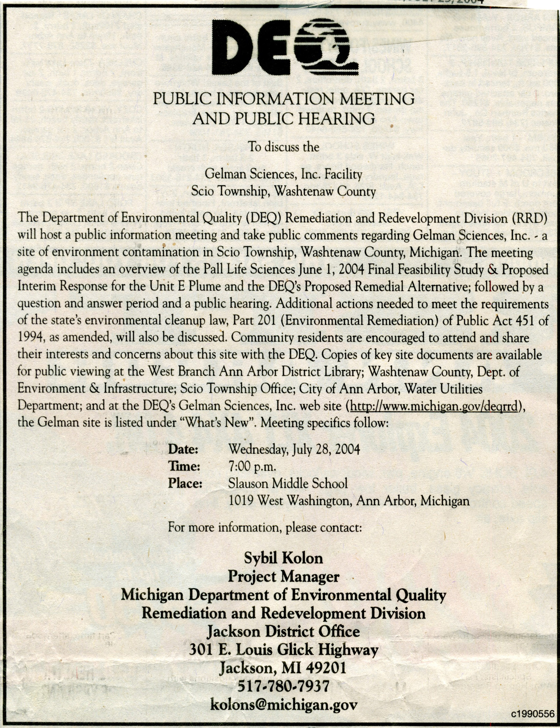DEQ Public Information Meeting And Public Hearing image