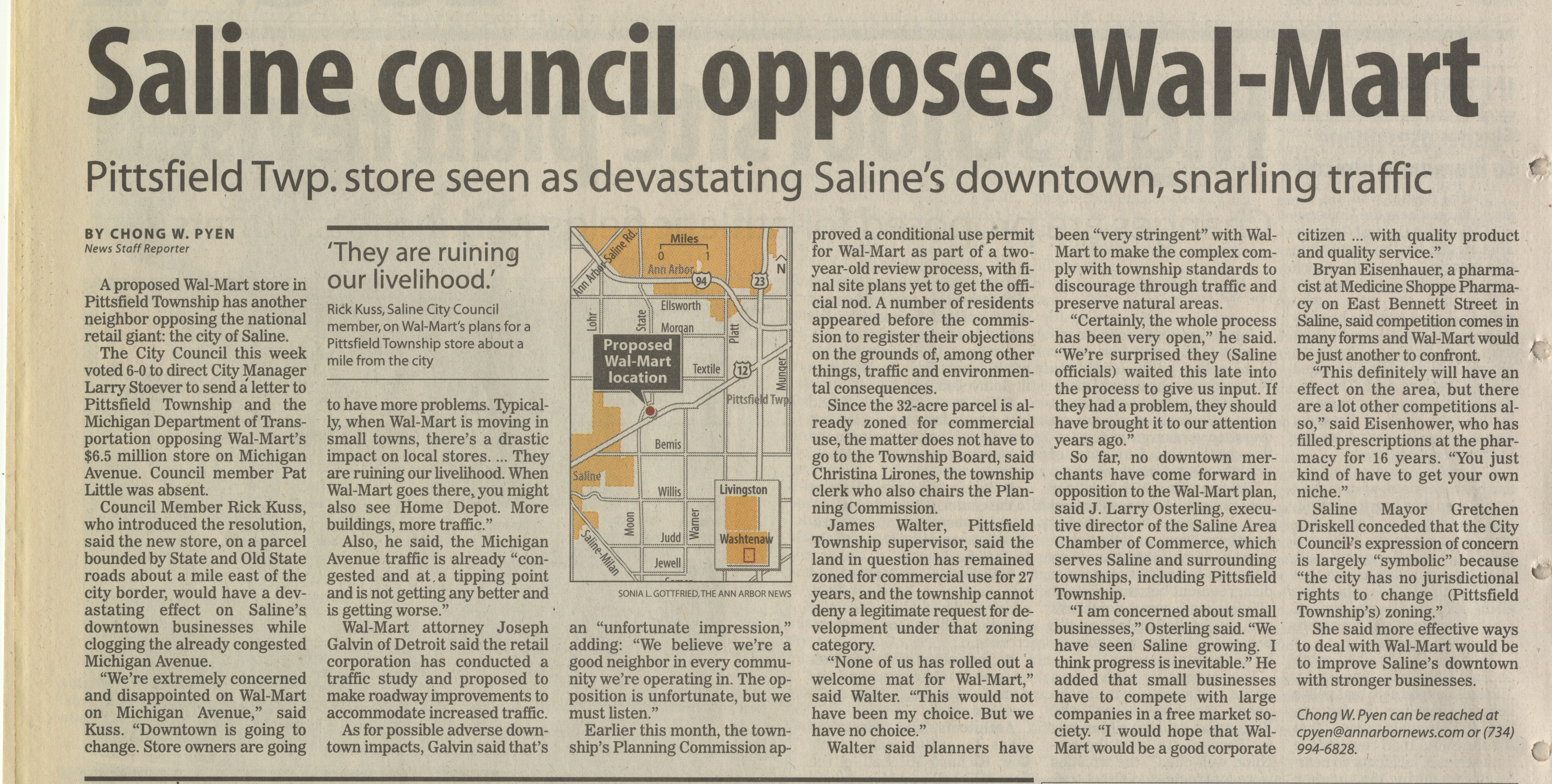 Saline Council Opposes Wal-Mart image