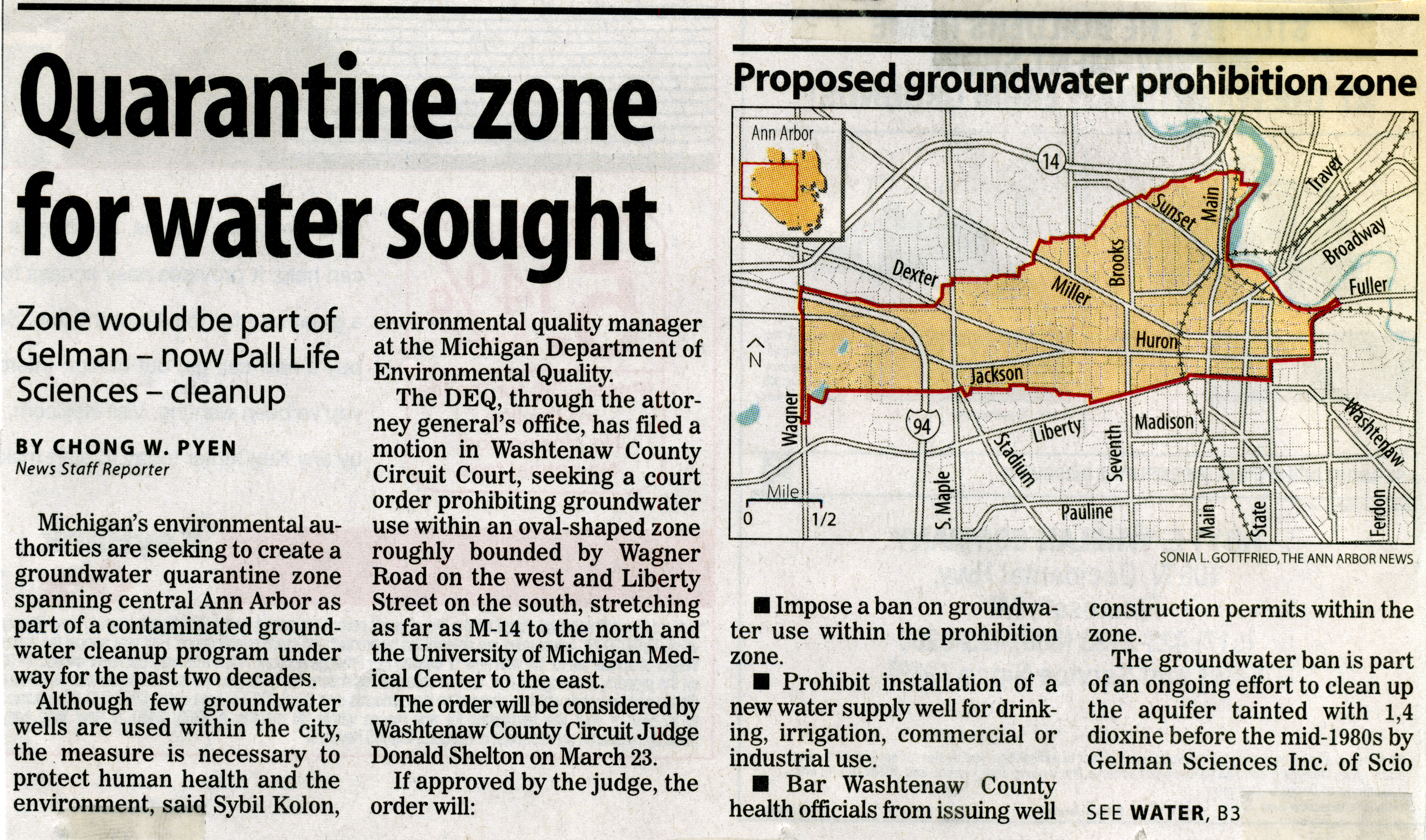 Quarantine Zone For Water Sought image