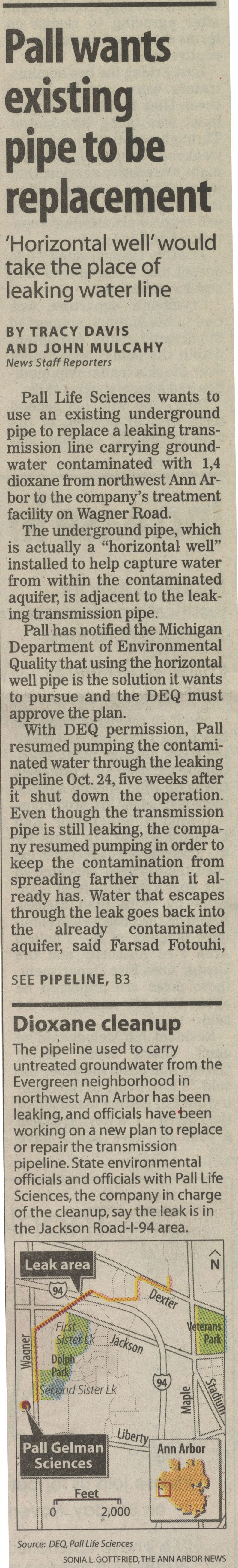 Pall Wants Existing Pipe To Be Replacement image