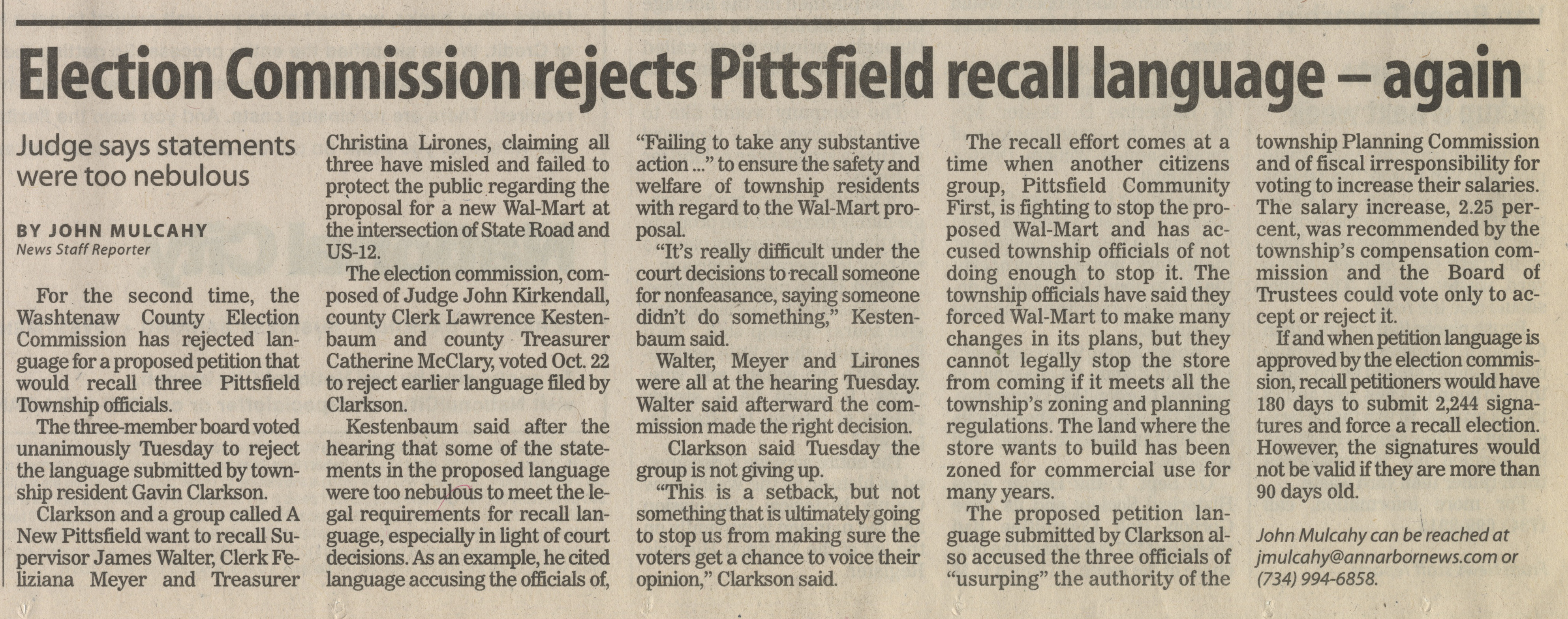 Election Commission Rejects Pittsfield Recall Language - Again image