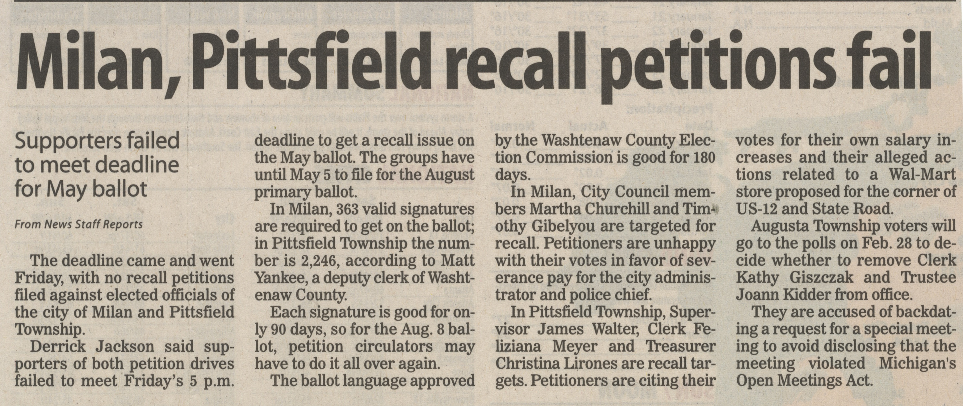 Milan, Pittsfield Recall Pettions Fail image