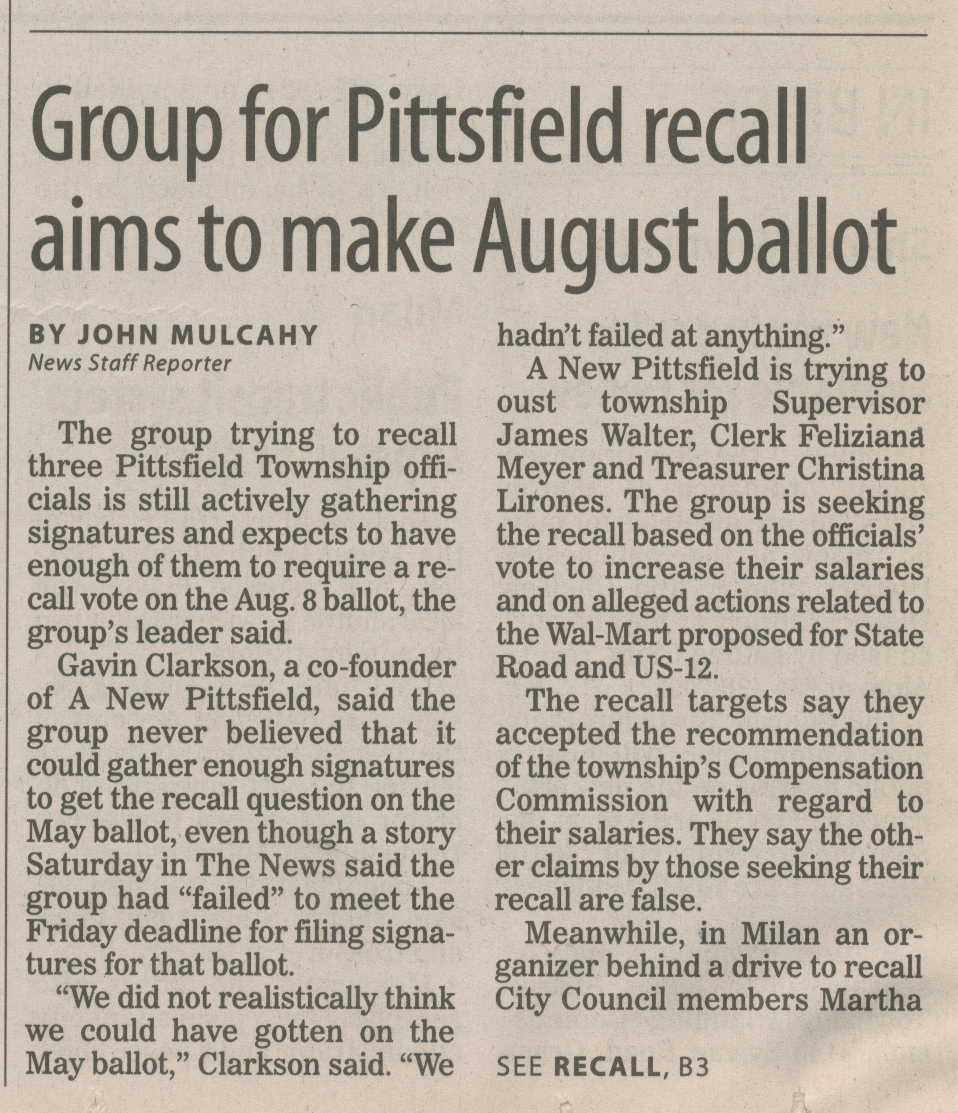 Group for Pittsfield recall aims to make August ballot image