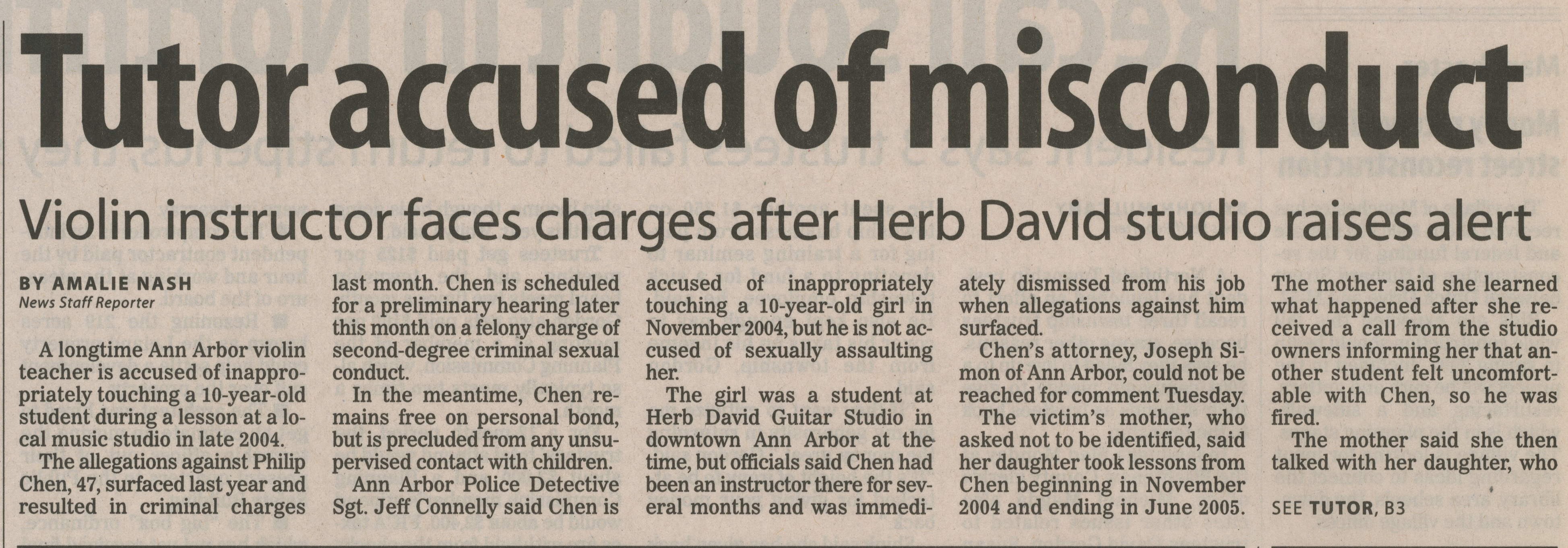 Tutor Accused of Misconduct: Violin Instructor Faces Charges After Herb David Studio Raises Alert image