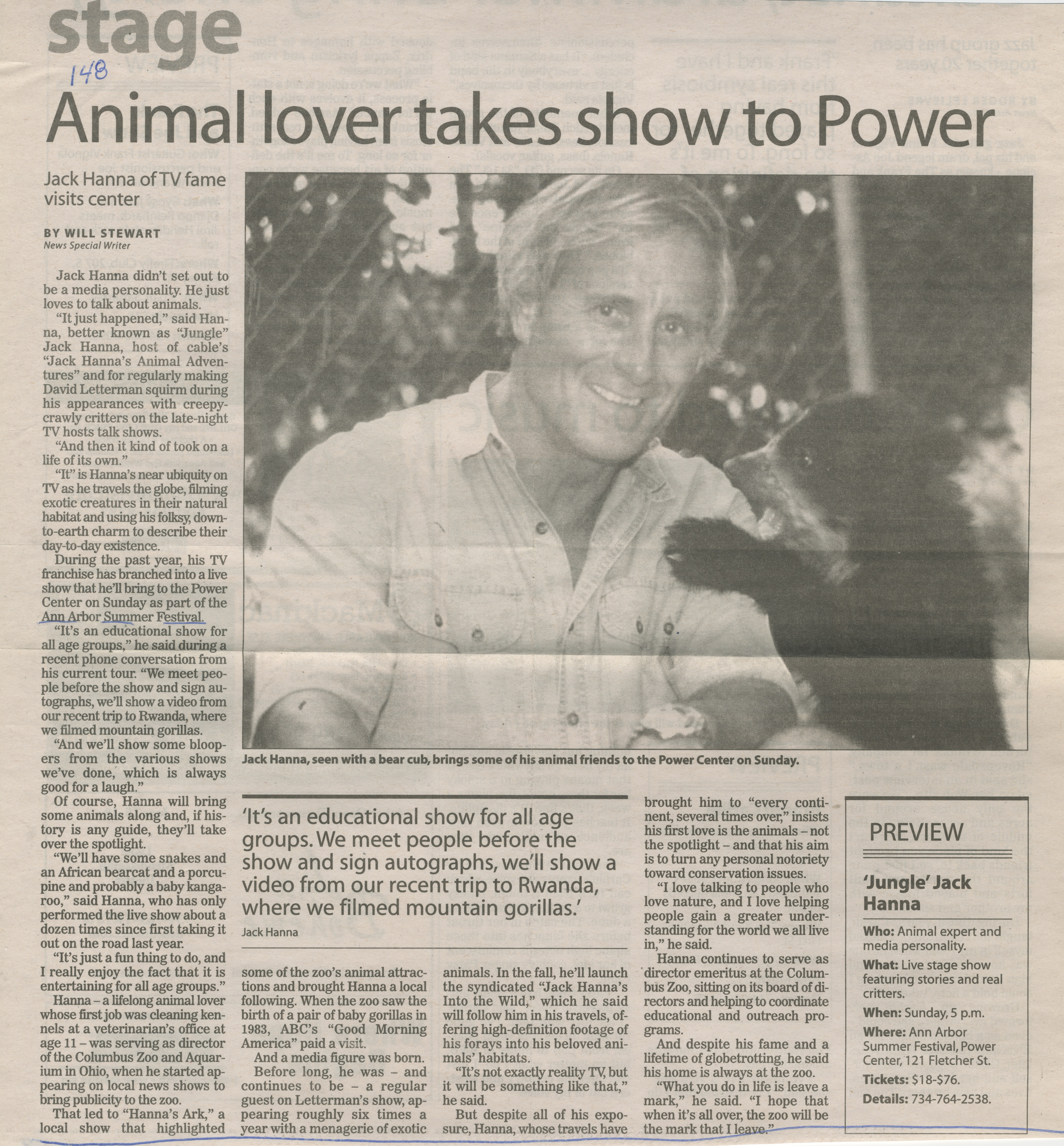 Animal lover takes show to Power: Jack Hanna of TV fame visits center image