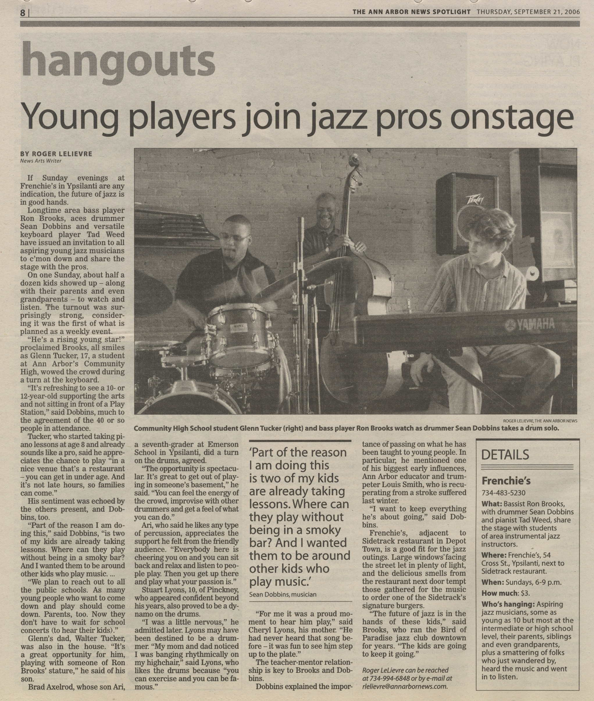 Young Players Join Jazz Pros Onstage image
