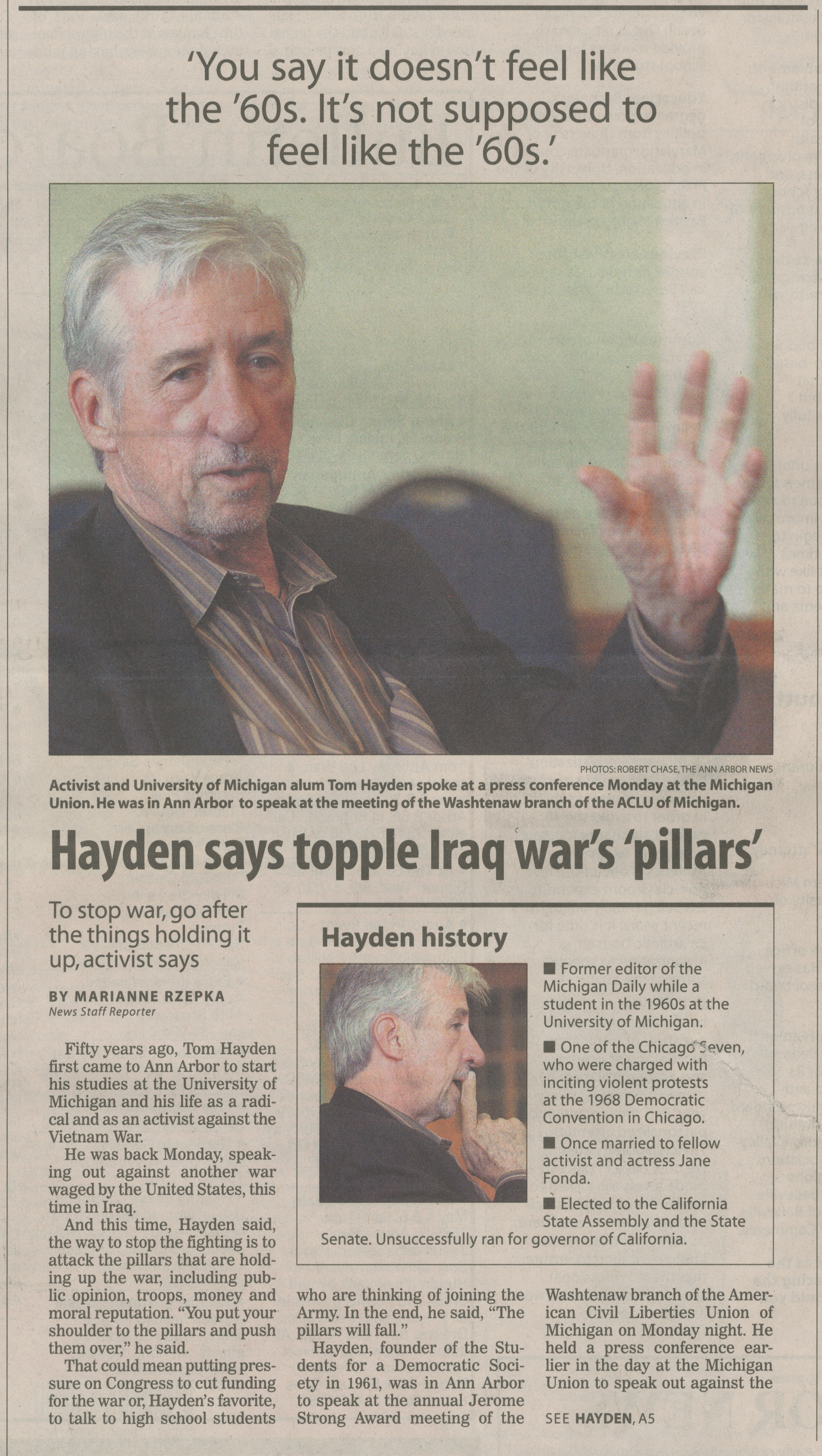 Hayden Says Topple Iraq War's 'Pillars' image