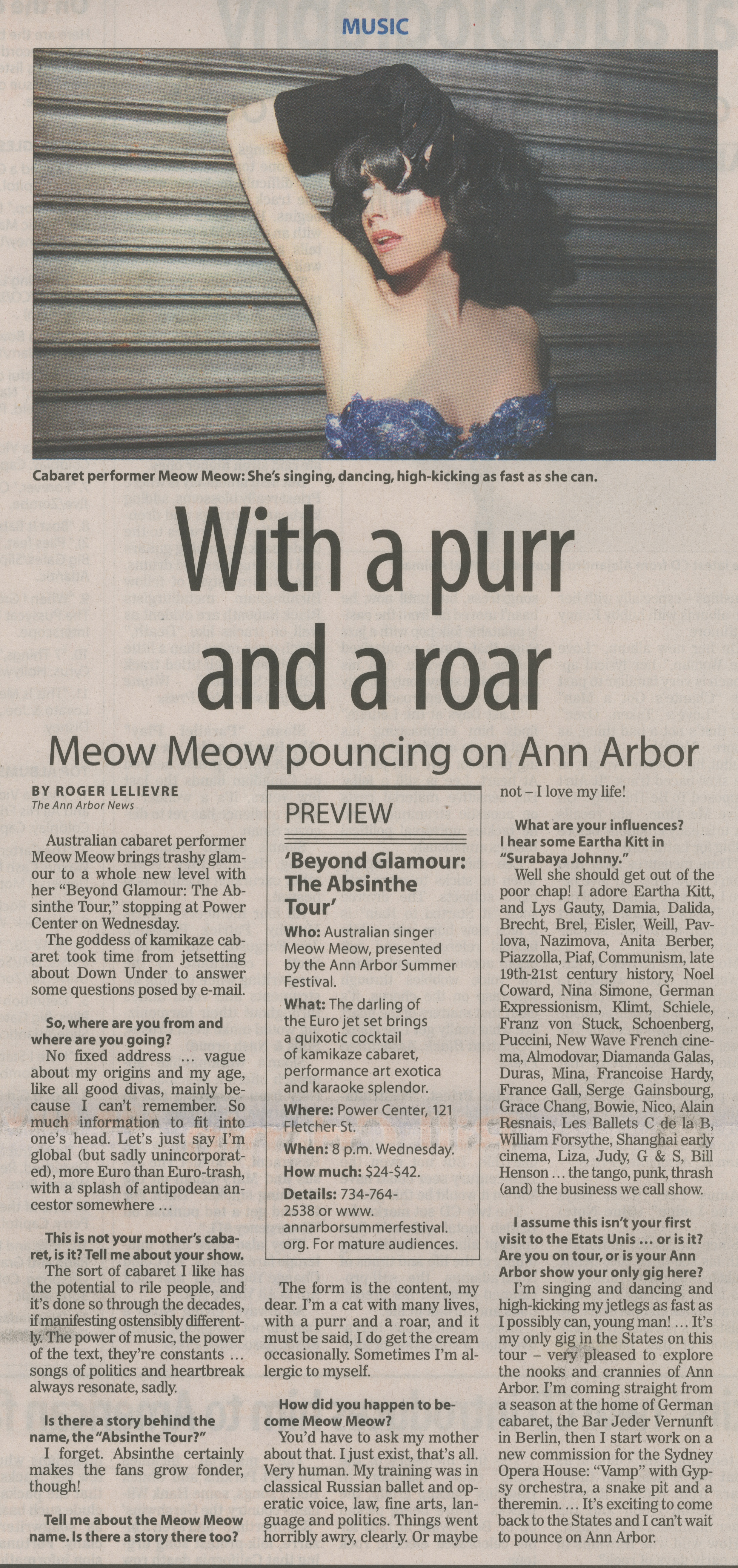 With a purr and a roar: Meow Meow pouncing on Ann Arbor image