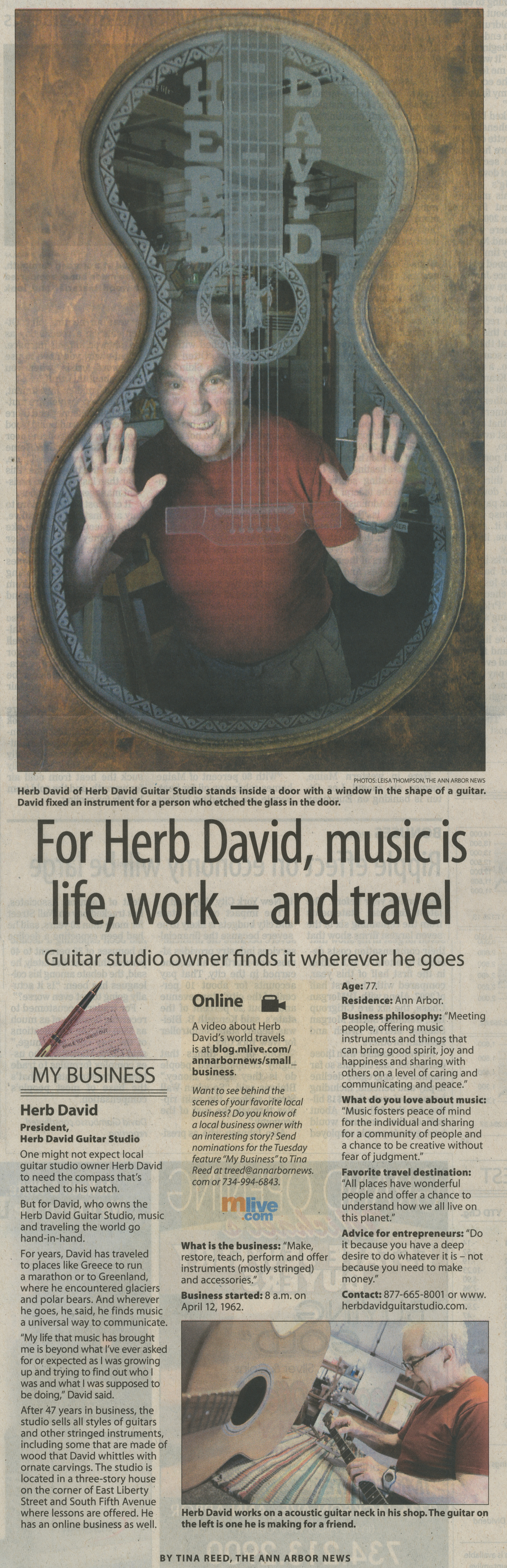 For Herb David, Music Is Life, Work -- And Travel -- Studio Owner Finds It Wherever He Goes image