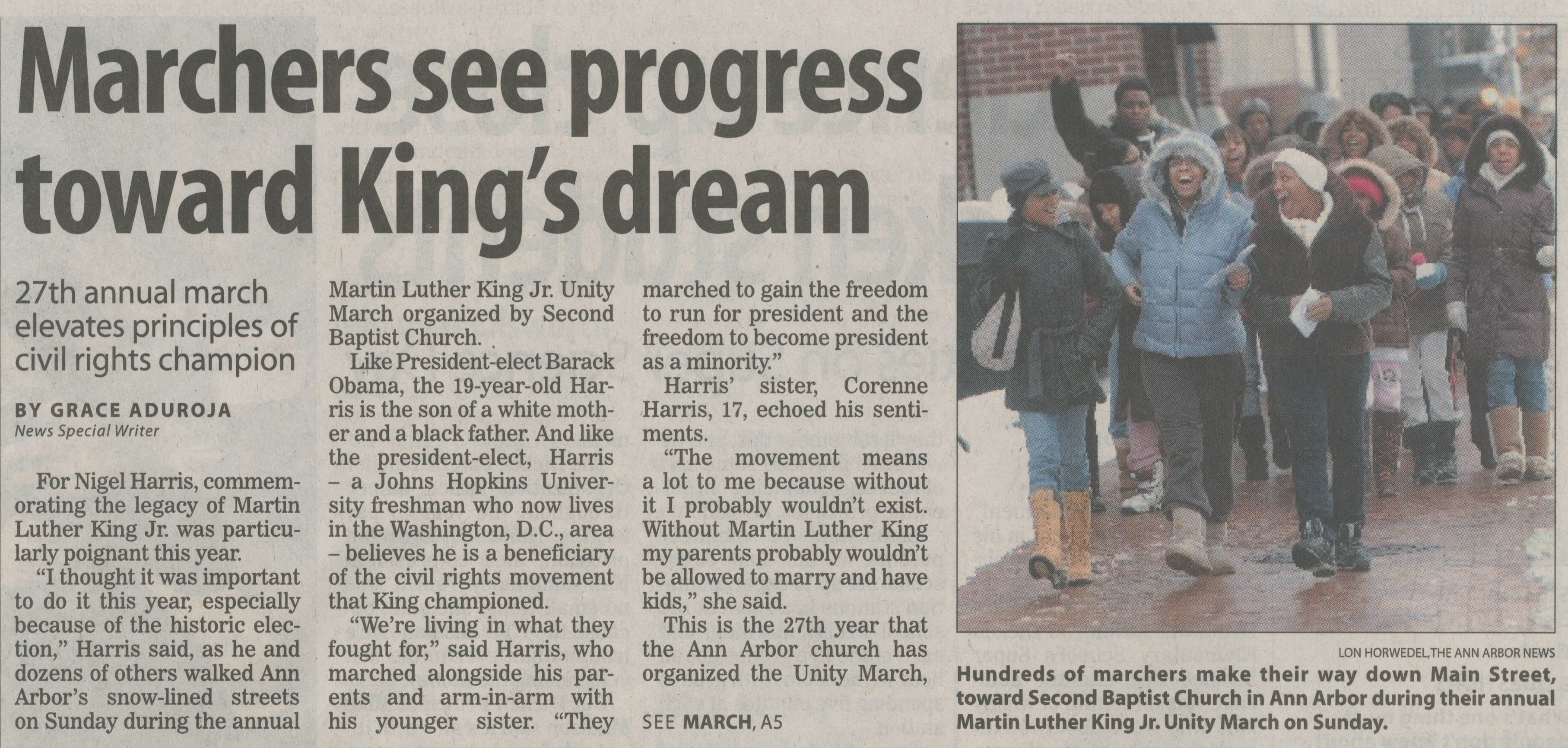 Marchers See Progress Toward King's Dream image