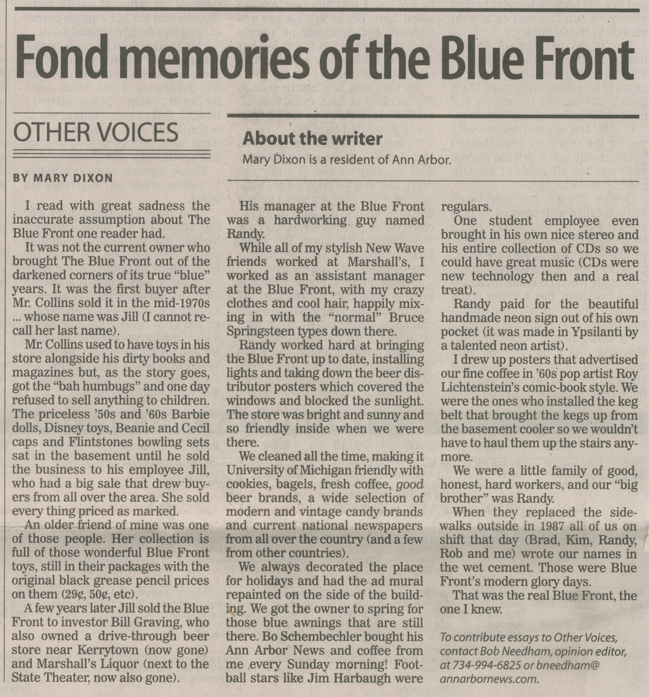 Fond Memories Of The Blue Front - Other Voices image