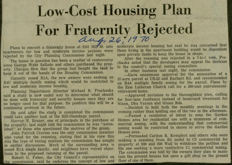 Low-cost Housing Plan For Fraternity Rejected image