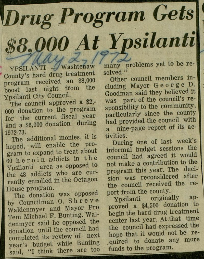 Drug Program Gets $8,000 At Ypsilanti image