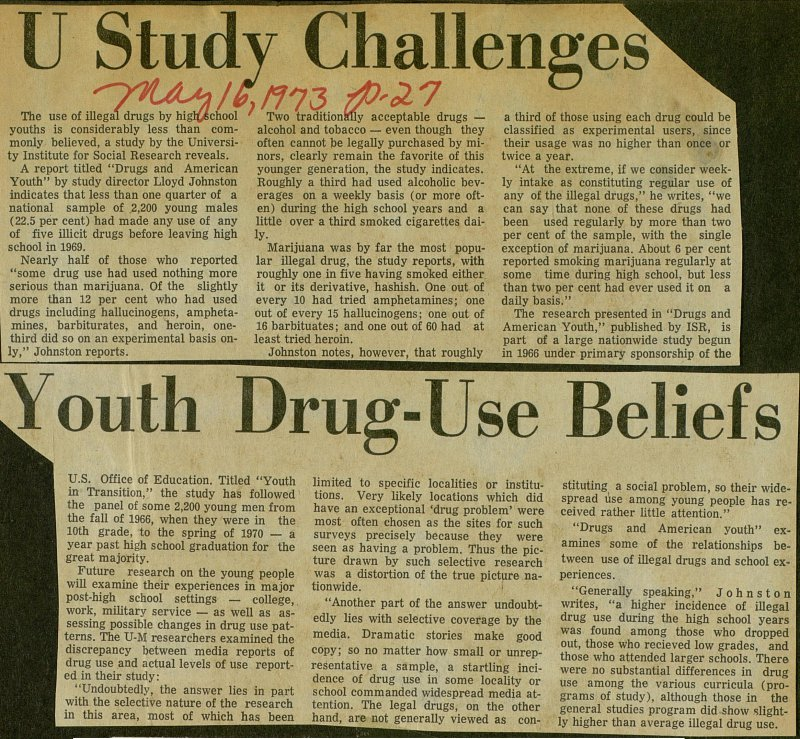 U Study Challenges Youth Drug-Use Beliefs image