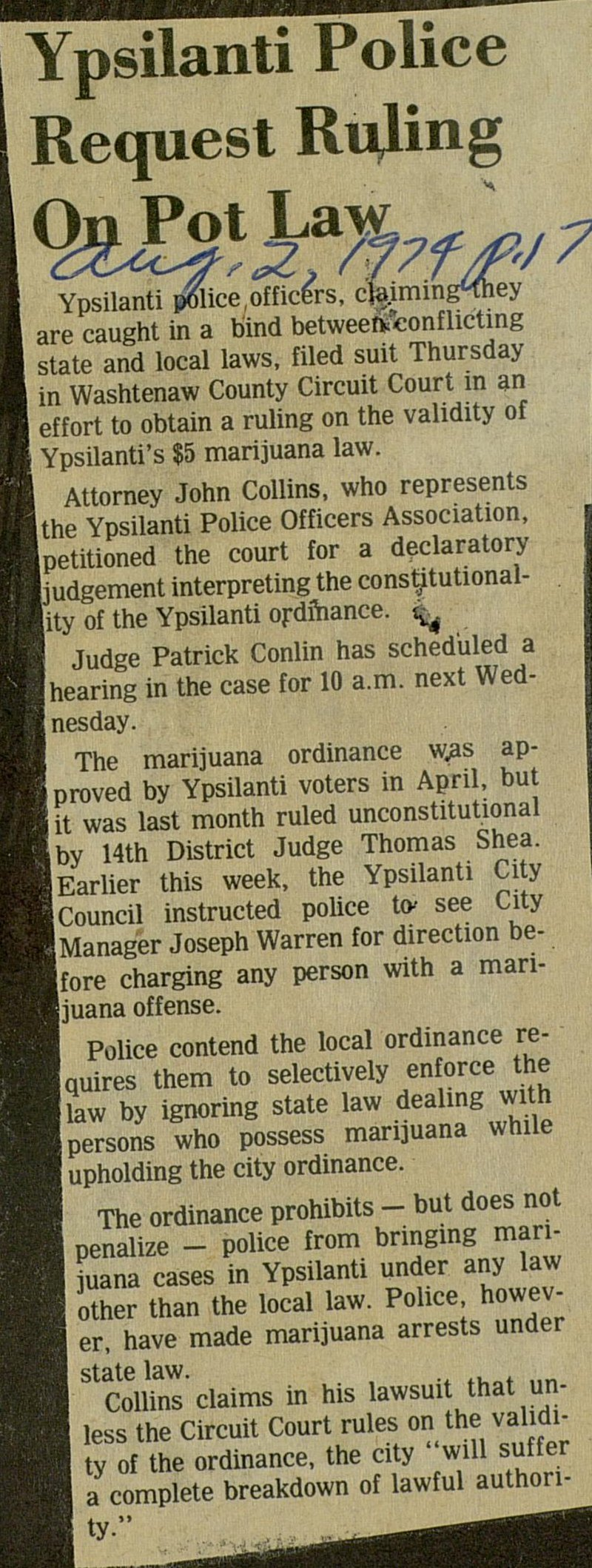 Ypsilanti Police Request Ruling On Pot Law image