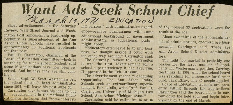 Want Ads Seek School Chief image
