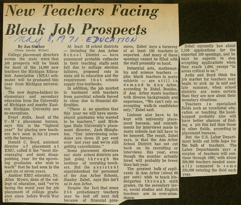 New Teachers Facing Bleak Job Prospects image