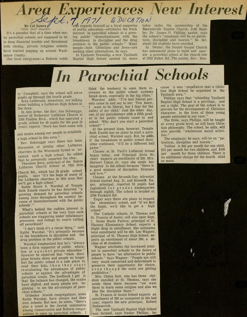 Area Experiences New Interest In Parochial Schools image