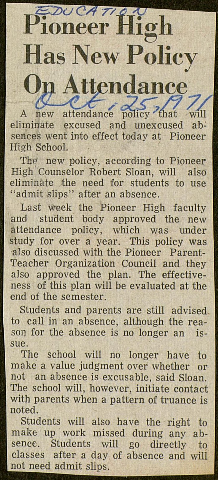 Pioneer High Has New Policy On Attendance image