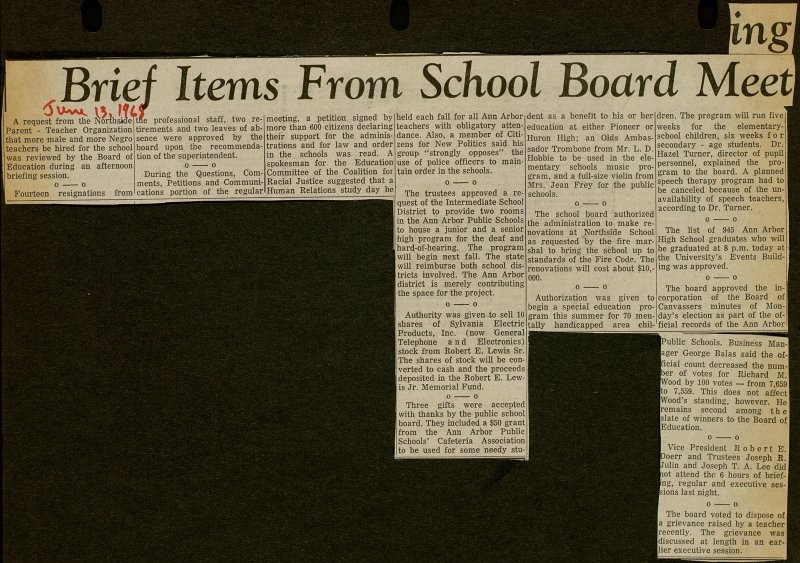 Brief Items From School Board Meeting image