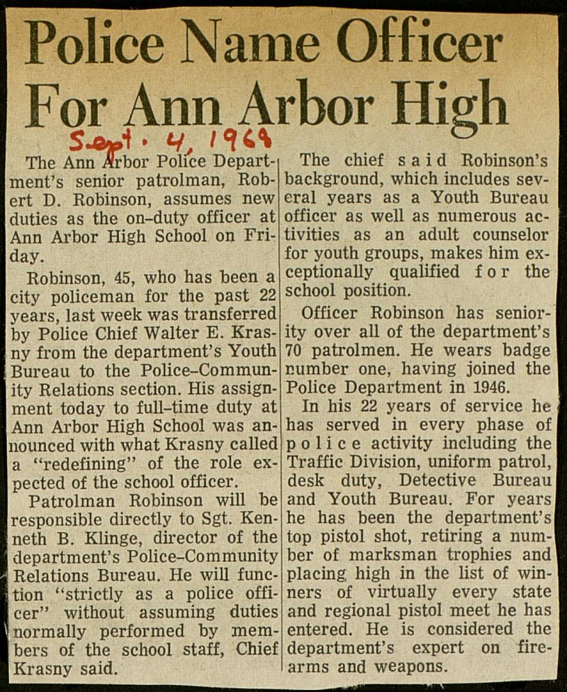 Police Name Officer For Ann Arbor High image
