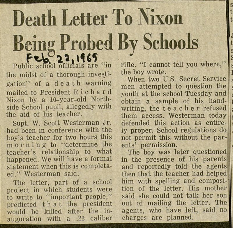 Death Letter To Nixon Being Probed By Schools image