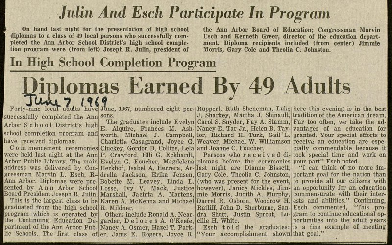 Diplomas Earned By 49 Adults image
