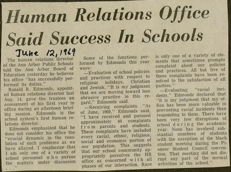 Human Relations Office Said Success In Schools image