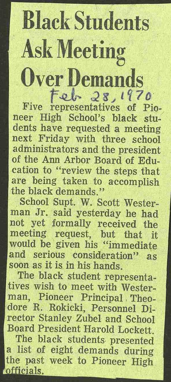 Black Students Ask Meeting Over Demands image