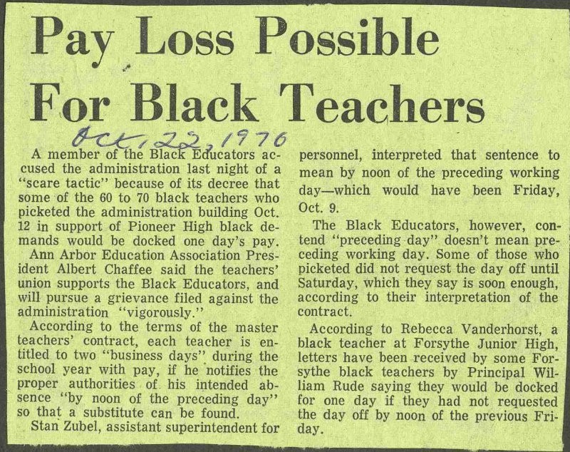 Pay Loss Possible For Black Teachers image
