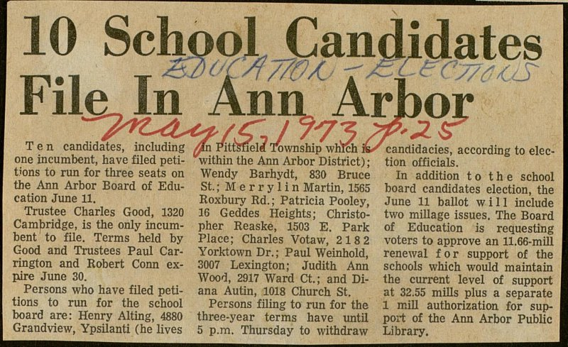 10 School Candidates File In Ann Arbor image