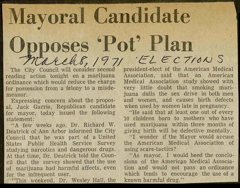 Mayoral Candidate Opposes 'Pot' Plan image