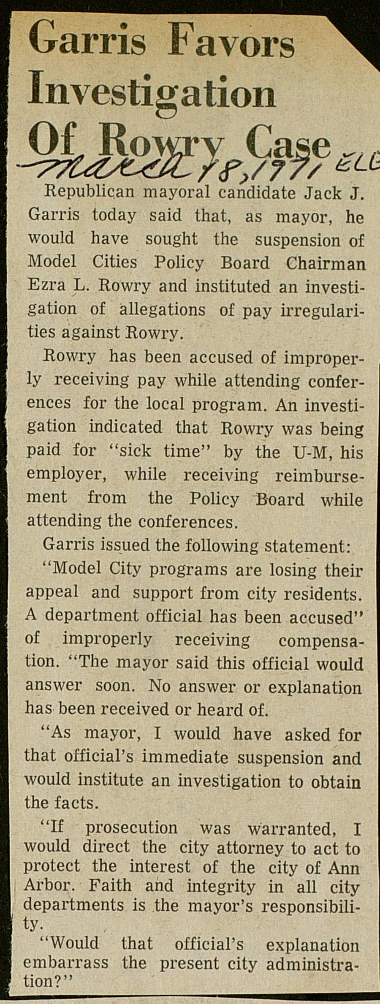 Garris Favors Investigation Of Rowry Case image