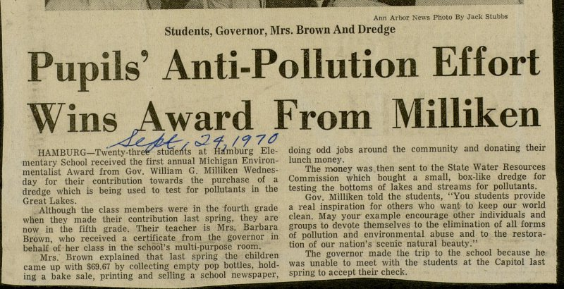 Pupils' Anti-Pollution Effort Wins Award From Milliken image
