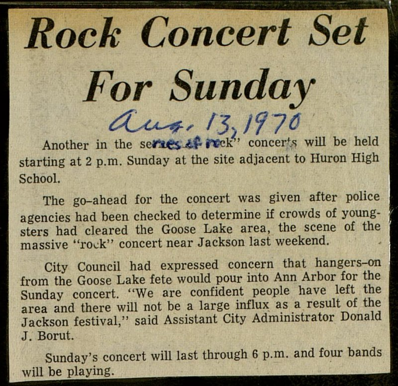 Rock Concert Set For Sunday image