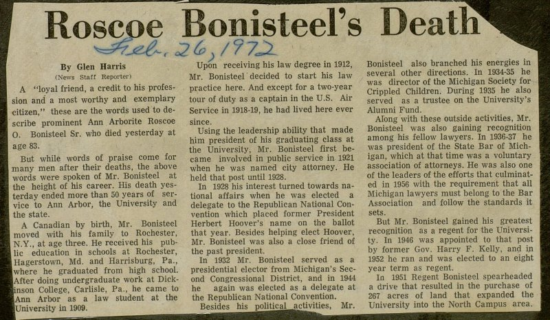 Roscoe Bonisteel's Death Ends Half Century of Service image